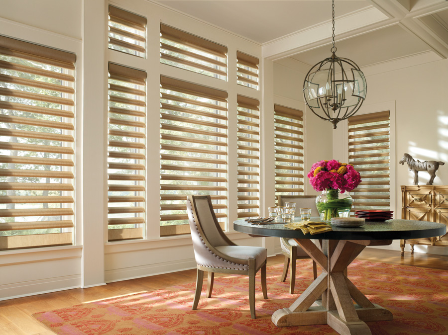 what goes with gold alustra pirouette dining room Hunter Douglas St Paul 55113