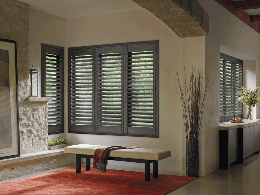 living room brown plantation Shutters best insulating window treatments Hunter Douglas St Paul 55113
