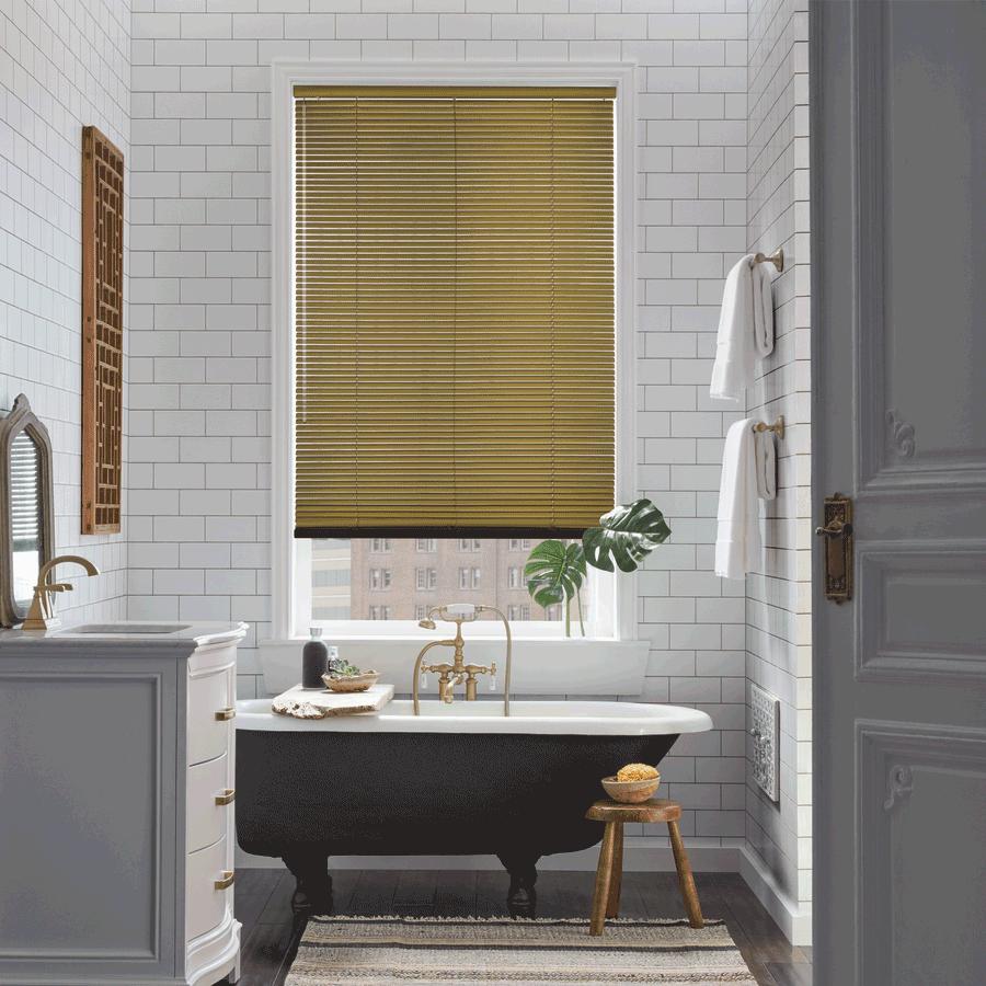 gold aluminum blinds bathroom solutions design Hunter Douglas Little Canada 55117