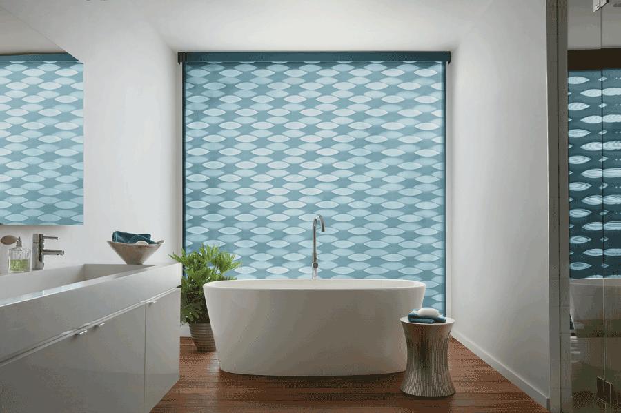 bathroom solutions design banded shades Hunter Douglas Burnsville 55337