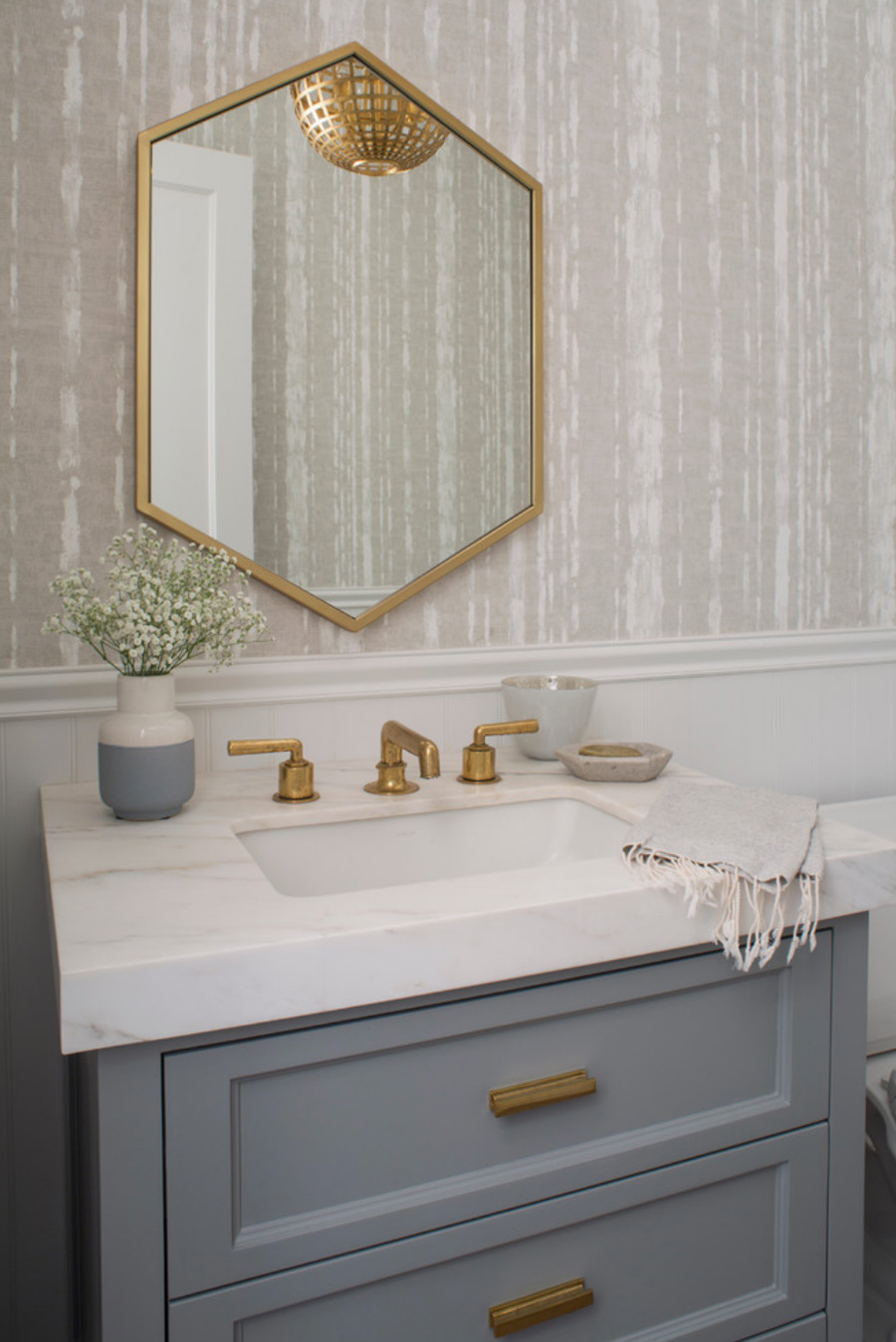 what goes with gold grey white bathroom Hunter Douglas St Paull 55113