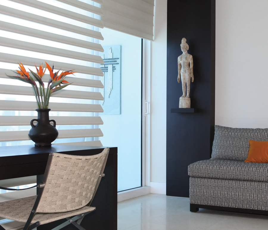 shades of white contrast pirouette shades Hunter Douglas ST Paul 55331
