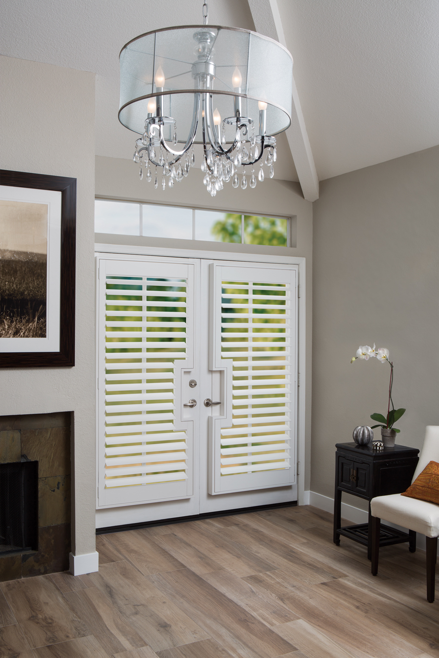 greige and white entryway plantation shutters Hunter Douglas ST Paul 55331