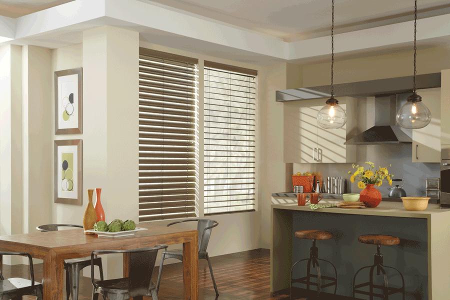 kitchen dining hygge cozy modern precious metal blinds Hunter Douglas St Paul 55113