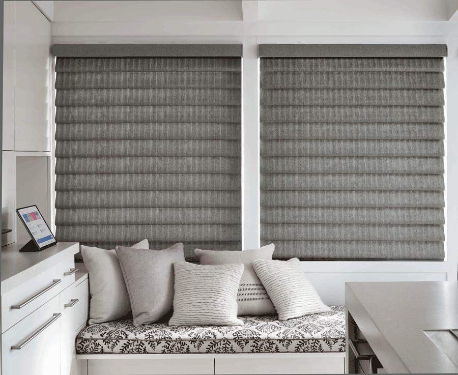 grey vignette modern roman shades best insulating window treatments Hunter Douglas St Paul 55113