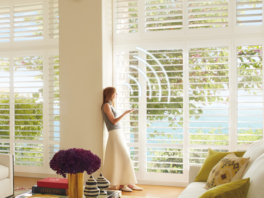 motorized shutters powerview living room Hunter Douglas St Paul 55331