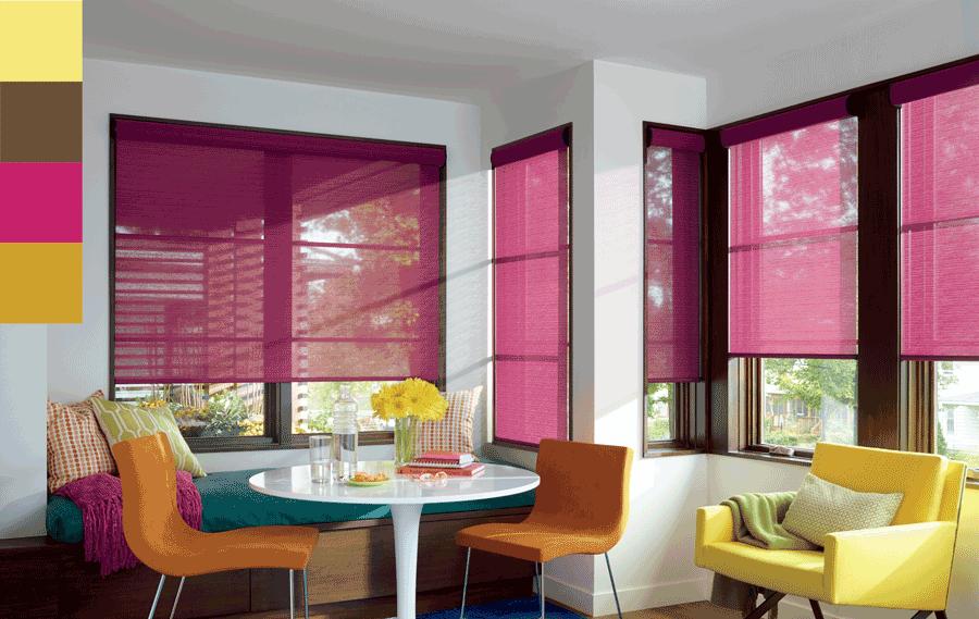 pink roller shades living room Hunter Douglas St Paul 55113