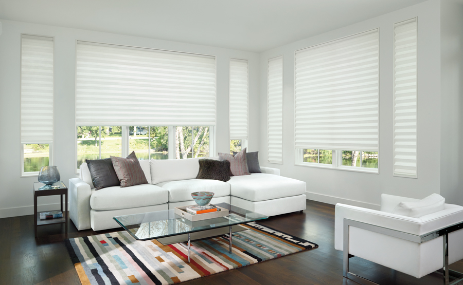 living room shades of white honeycomb shades Hunter Douglas St Paul 55331