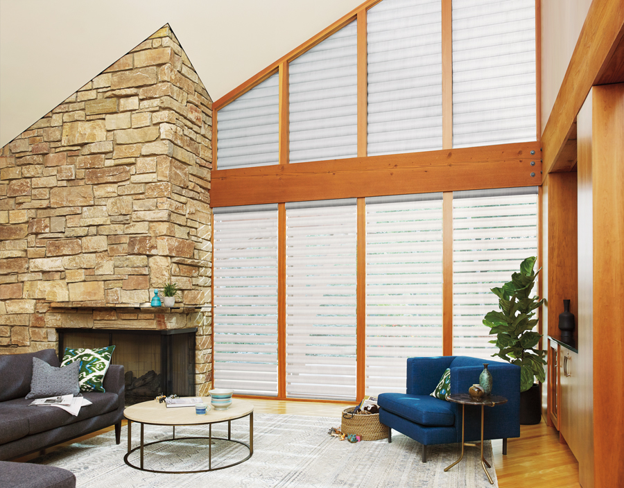 warm shades of white living room pirouette shades Hunter Douglas ST Paul 55331