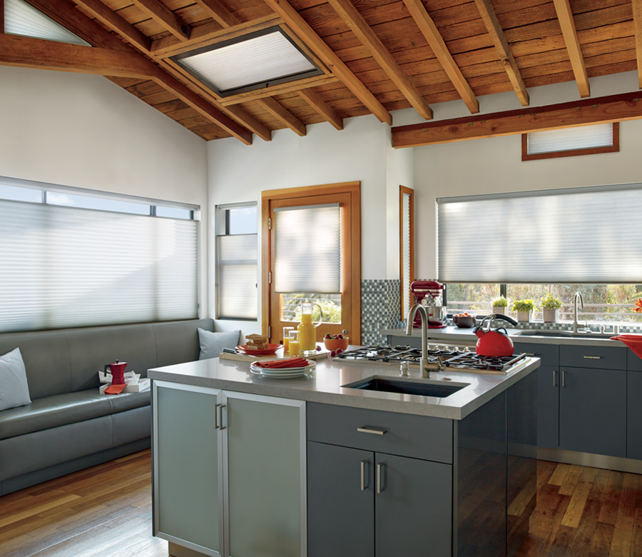 kitchen top down bottom up shades Hunter Douglas Applause Honeycomb Shades skylight shades St paul 55113
