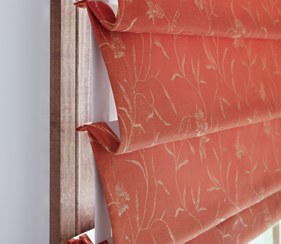 close up red Hunter Douglas design studio custom roman shades Maple Grove 55369