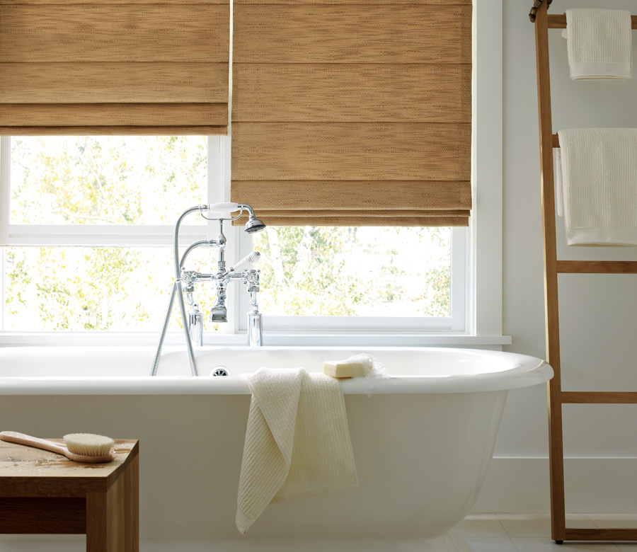 bathroom window treatments Hunter Douglas design studio custom roman shades St paul 55113