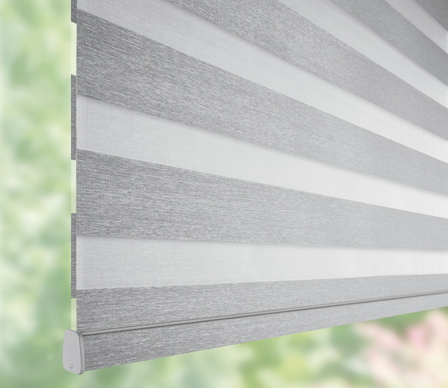 gray Hunter Douglas designer banded shades from sheer to opaque dual roller shades Maple Grove 55369
