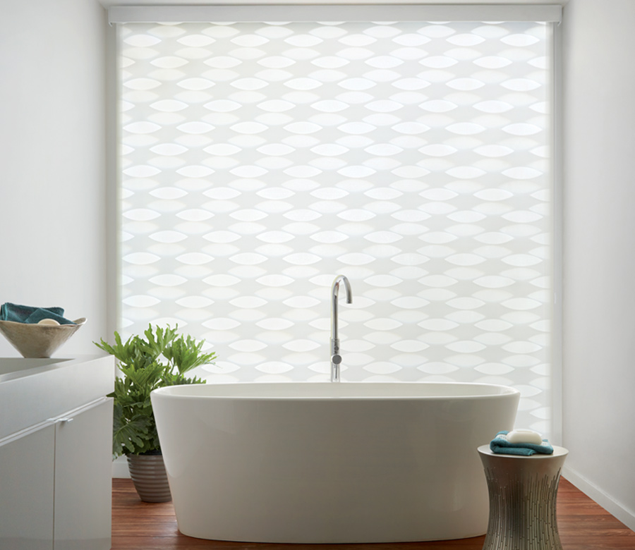 white bathroom geometric shades Hunter Douglas designer banded shades sheer and opaque St paul 55113