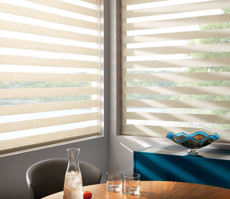 cream color Hunter Douglas designer banded shades from sheer to opaque dual roller shades Burnsville 55337