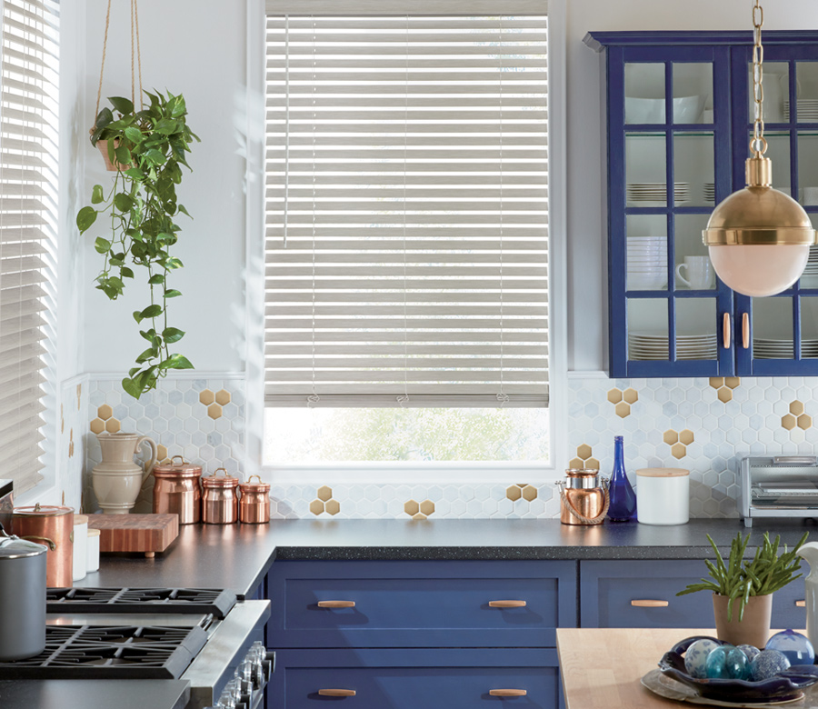 kitchen window white faux wood blinds child safe blinds Minneapolis MN