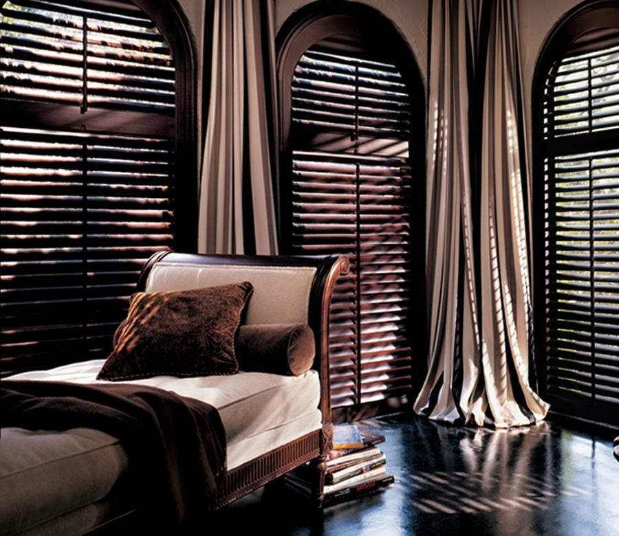 arched window treatments interior window shutters Maple Grove MN
