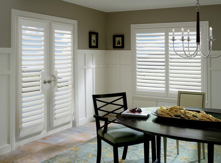 dining room french door window treatments Hunter Douglas shutters Burnsville MN