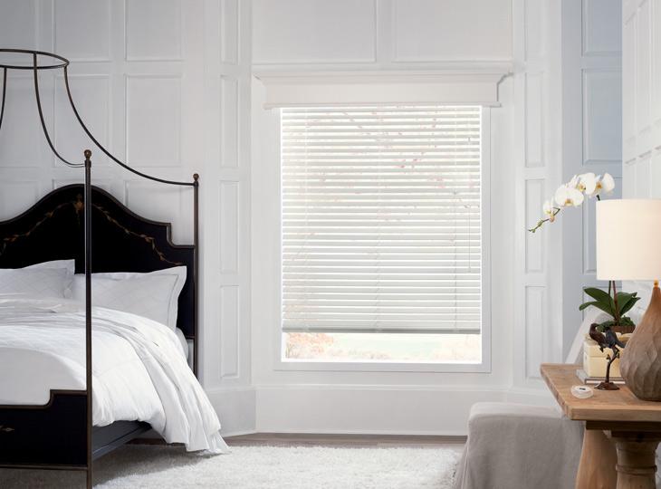 white bedroom white Hunter Douglas parkland wood blinds Burnsville MN