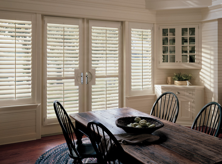 farmhouse style dining room french door plantation shutters st paul mn