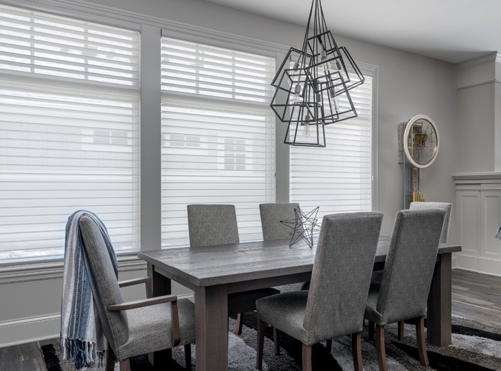 farmhouse inspired dining room silhouette shades Maple Grove MN