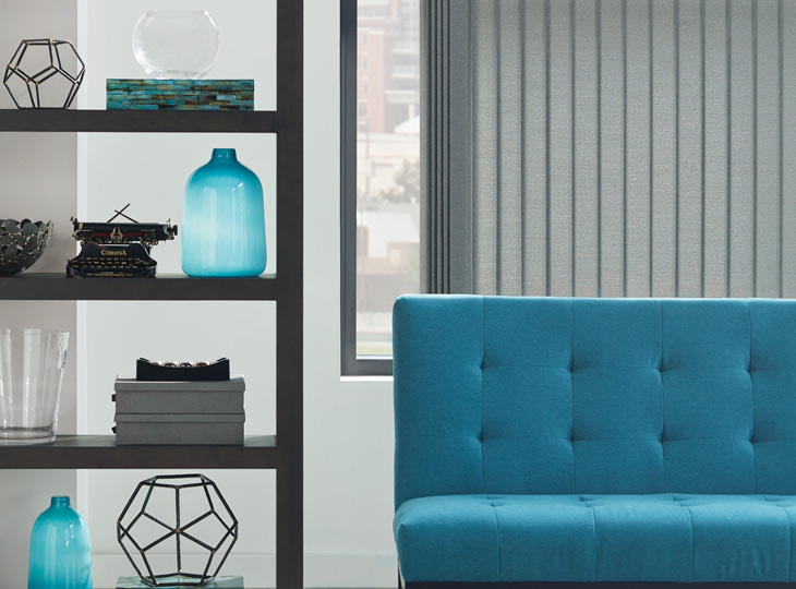 turquoise with gray hunter douglas vertical blinds Maple Grove MN