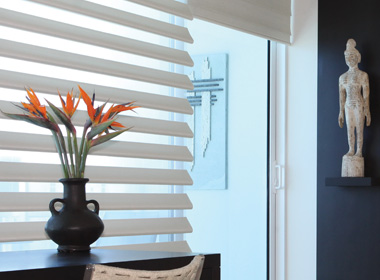 White Hunter Douglas Pirouette shades sheer shades to opaque Maple Grove 55369
