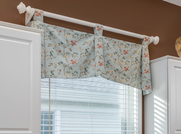 floral fabric window treatments custom top treatments Burnsville MN