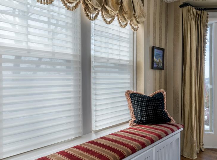 white sheer shades gold drapery panels custom window treatments Minneapolis MN