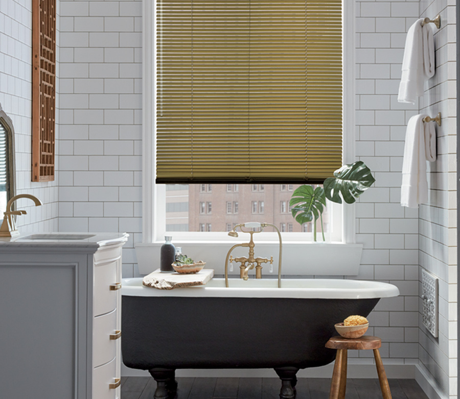 bathroom with gold accents metal blinds minneapolis mn