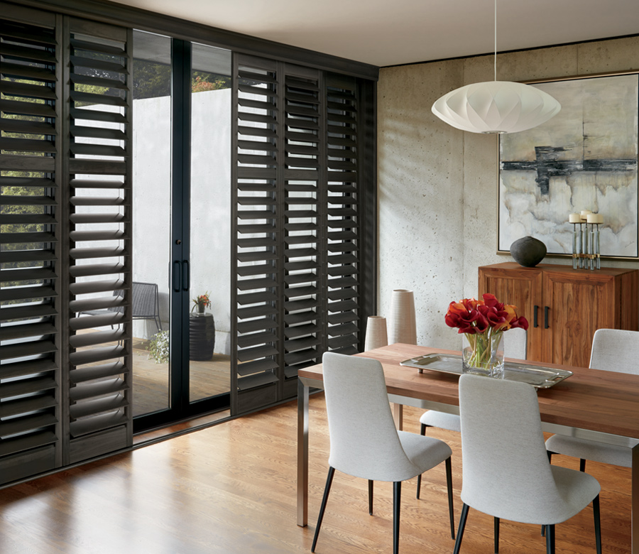 dining room plantation shutters for sliding glass doors window treatments Maple Grove mn