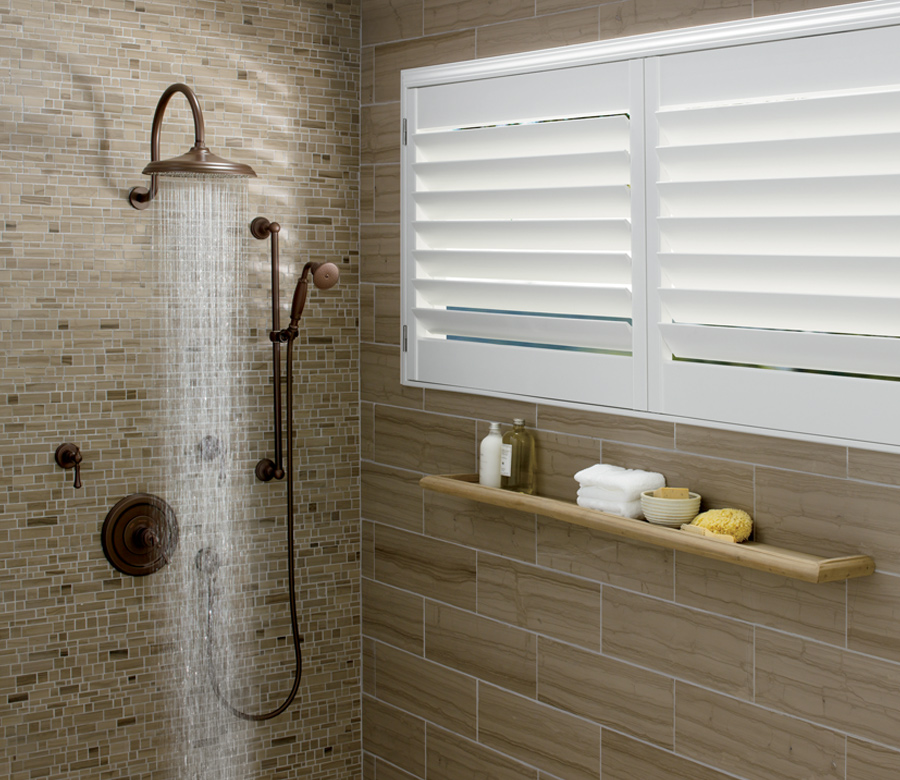 shower window with plantation shutters maple grove mn