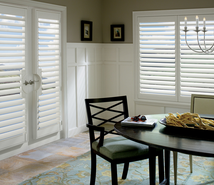 plantation shutters french door window treatments Burnsville MN