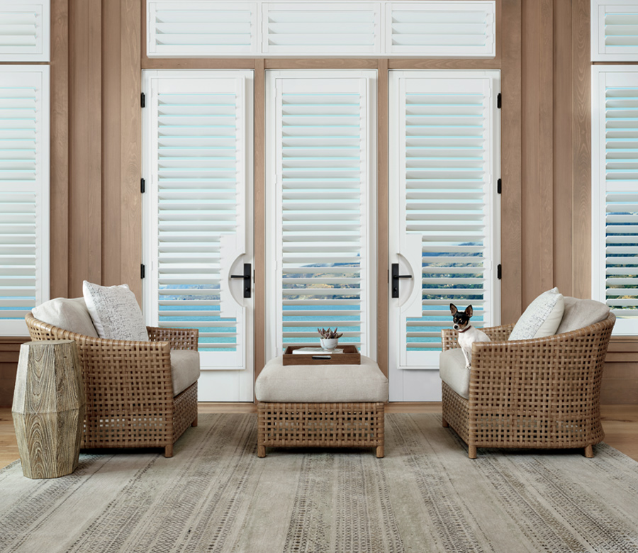 white plantation shutters motorized shutters Minneapolis MN