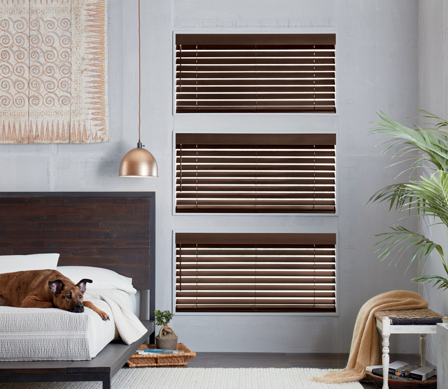 dark bedroom wood cordless blinds Minneapolis Mn