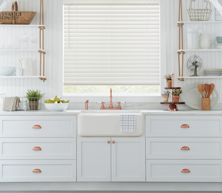 kitchen window white parkland wood blinds Minneapolis Mn