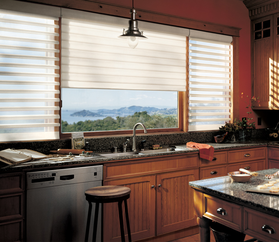 kitchen windows with white pirouette window shades Burnsville mn