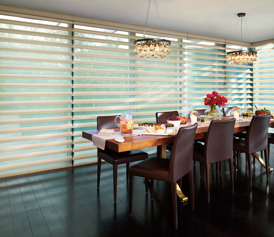 dining room neutral shades floor to ceiling window treatments St Paul mn