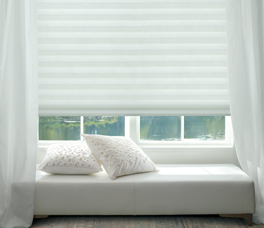 white sculpted solera soft fabric roman shades Maple grove MN