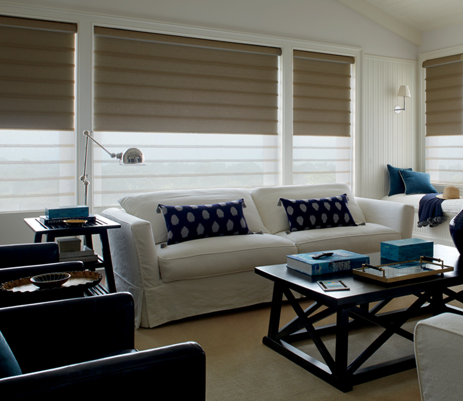 Hunter Douglas custom roman shades dual shades for room darkening Burnsville 55337