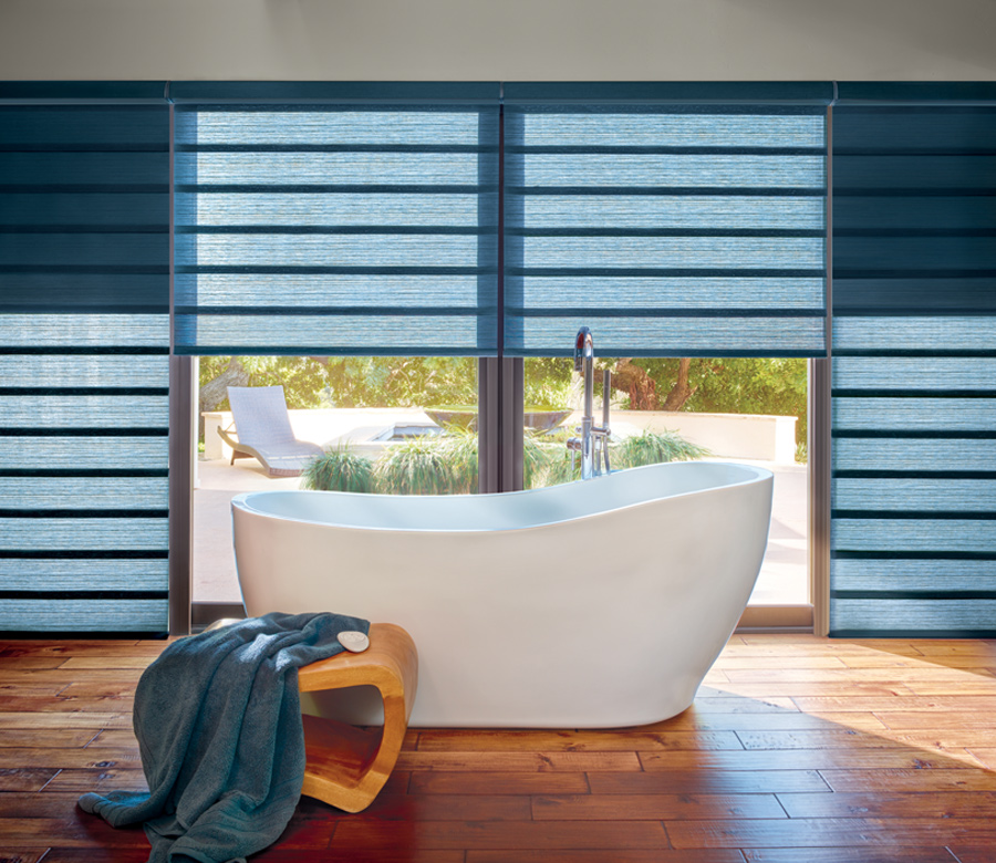 Hunter Douglas custom roman shades with dual shades for room darkening and privacy solutions St Paul 55113