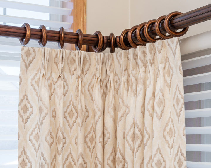 pinched pleat curtains window treatments in the corner St Paul MN
