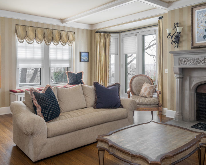 Living room windows and doors with layered window treatments custom curtains Burnsville MN