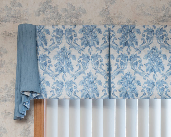 Fleur de lis fabric cornice window treatments Maple Grove MN