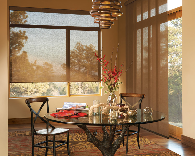 Hunter Douglas powerview roller shades and skyline gliding panels as motorized blinds Minneapolis St Paul, MN