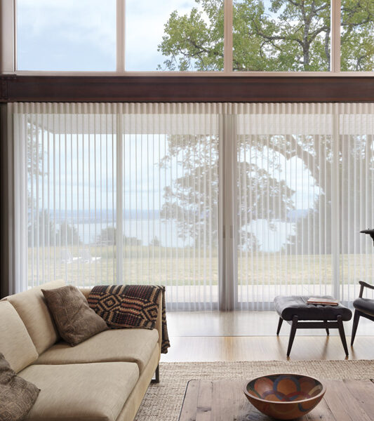 Hunter Douglas vertical shades for sliding glass doors as motorized shades Burnsville, MN