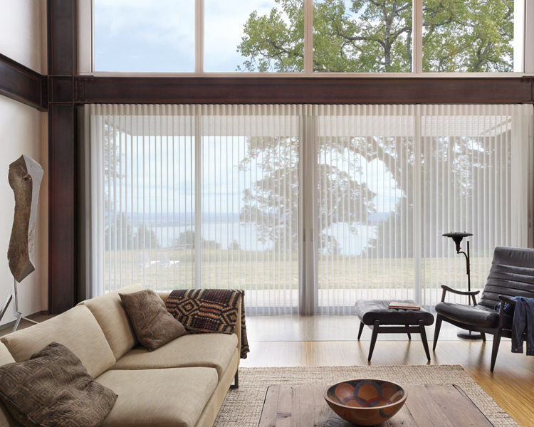 Hunter Douglas vertical shades for sliding glass doors as motorized shades Burnsville, MN