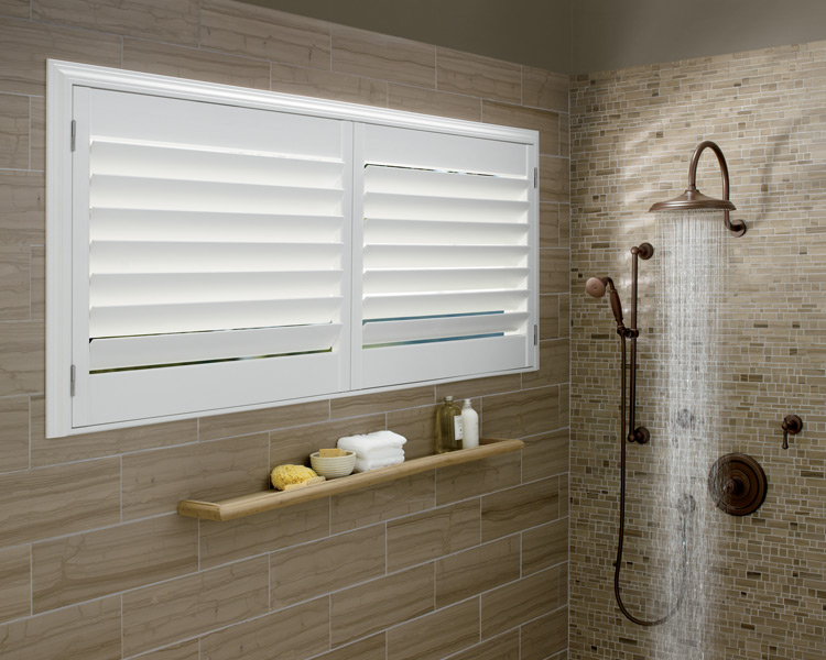 bathroom window treatments Hunter Douglas motorized shutters Minneapolis St Paul MN