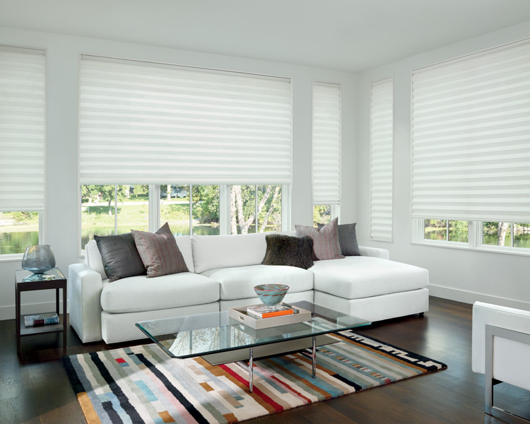 Hunter Douglas solera roman shades as motorized blinds Burnsville MN