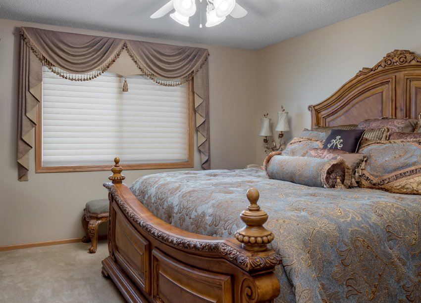 traditional bedroom Hunter Douglas silhouette window shades and custom drapery Maple Grove 55369
